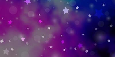 pano de fundo rosa claro, azul vector com círculos, estrelas.