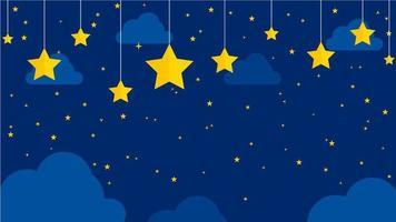 estrelas e nuvens à noite ilustração vetor