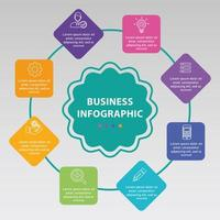 infográfico de negócios circular com 8 opções vetor