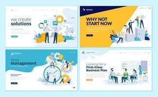 conjunto de modelos de design de página da web para soluções de negócios, inicialização, gerenciamento de tempo, planejamento e estratégia vetor