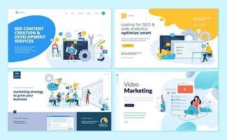 conjunto de modelos de design de página da web para aplicativos da web e móveis, seo, estratégia de marketing, marketing de vídeo vetor