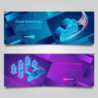 conjunto de banner de tecnologia de computação em nuvem vetor