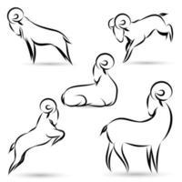 conjunto de contorno de cabras pretas
