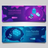 banner de tecnologia de dados definido para negócios com design isométrico vetor