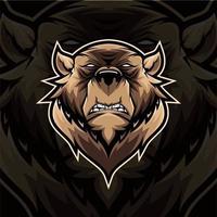 desenho de mascote de urso em fundo preto vetor