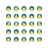 conjunto de ícones plana de pasta. vetor e ilustração.