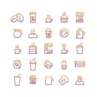 conjunto de ícones gradiente de cafeteria. vetor e ilustração.