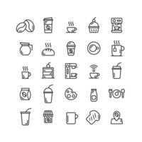 conjunto de ícones de contorno de cafeteria. vetor e ilustração.