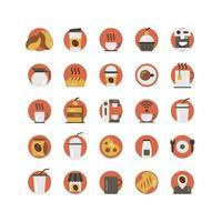 conjunto de ícones plana de cafeteria. vetor e ilustração.