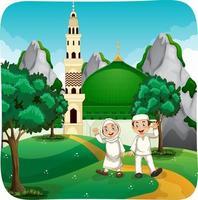 personagem de desenho animado de irmã e irmão muçulmano cena ao ar livre vetor