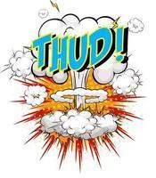 palavra baque no fundo da explosão da nuvem em quadrinhos vetor