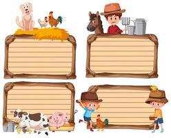 conjunto de banner vazio diferente com fazendeiro e animais em fundo branco vetor