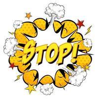 parar o texto na explosão de nuvem em quadrinhos isolada no fundo branco vetor