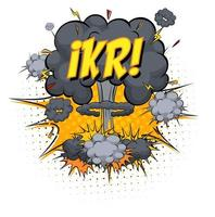 texto ikr sobre explosão de nuvem em quadrinhos isolada no fundo branco vetor