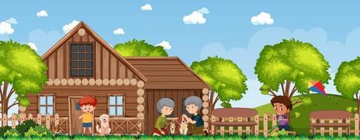 família feliz na casa rural vetor