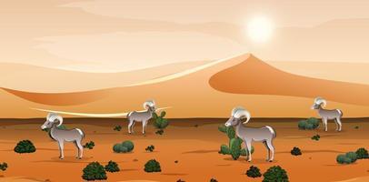 deserto com montanhas de areia e paisagem com carneiros selvagens na cena do dia vetor