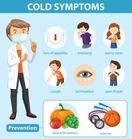infográfico médico de sintomas de resfriado e prevenção vetor