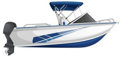 lancha ou barco a motor isolado no fundo branco vetor