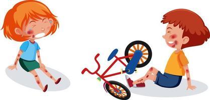 menino ang menina ferido na cabeça e no braço por andar de bicicleta vetor