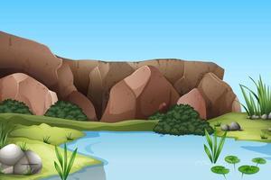 cena de fundo de floresta com pântano e pedra vetor
