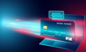 banner de conceito de pagamento online com cartão de crédito vetor