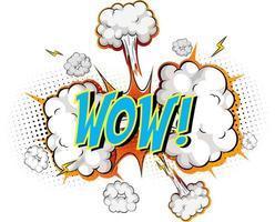 palavra uau em fundo de explosão de nuvem em quadrinhos vetor