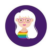 estilo de bloco de orgulho gay de personagem lésbica vetor