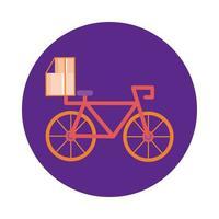 caixa em estilo de bloco de serviço de entrega de bicicletas vetor
