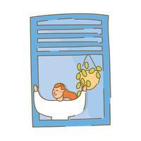 mulher na janela do apartamento para estilo de forma livre de quarentena vetor