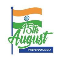 celebração do dia da independência da Índia com bandeira estilo simples vetor