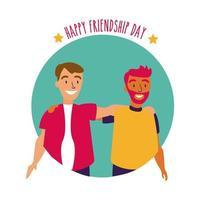 feliz celebração do dia da amizade com casal de homens estilo desenho à mão pastel vetor