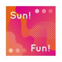 banner colorido divertido de sol com letras vetor