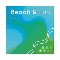 banner divertido de praia colorido com letras vetor