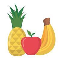 desenho de vetor banana abacaxi e maçã