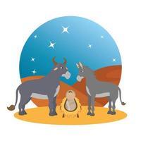 bebê Jesus com personagens de mula e manjedoura de boi