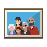 desenho de moldura familiar isolada