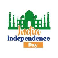 celebração do dia da independência da índia com mesquita taj mahal estilo simples vetor