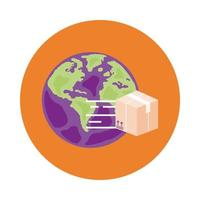 planeta Terra com estilo de bloco de serviço de entrega de caixa
