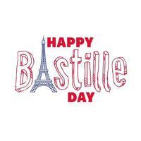 letras do dia da bastilha com desenho à mão da torre eiffel vetor