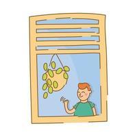 garotinho acenando na janela do apartamento para estilo de forma livre de quarentena vetor