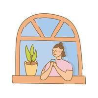 mulher usando smartphone na janela do apartamento para estilo de forma livre de quarentena vetor