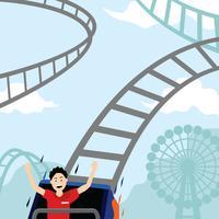 Roller Coaster Em Parque De Diversões vetor