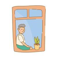 homem sentado na janela do apartamento para quarentena estilo de forma livre vetor