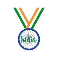 celebração do dia da independência da Índia com estilo simples da medalha ashoka chakra vetor
