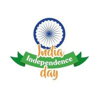 celebração do dia da independência da Índia com ashoka chakra com fita estilo simples vetor