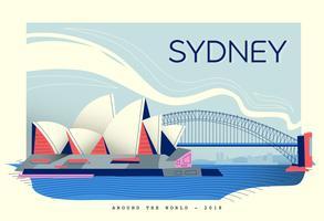 sydney landmark postcard vector flat illustration