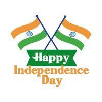 celebração do dia da independência da Índia com bandeiras estilo simples vetor
