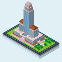 Ilustração Isométrica da Câmara Municipal de Los Angeles vetor
