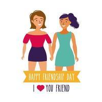 feliz celebração do dia da amizade com duas meninas estilo desenho mão pastel vetor