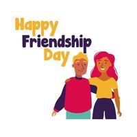 feliz celebração do dia da amizade com casal estilo desenho a mão pastel vetor